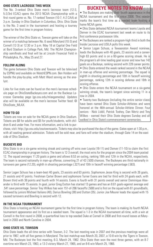 Ohio State Men's Lacrosse vs Towson 2013 NCAA Men's Lacrosse Championships Game Notes-page-001