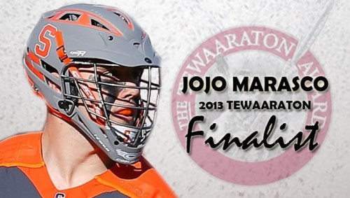 Syracuse Men's Lacrosse Senior Middie JoJo Marasco 2013 Tewaaraton Finalist