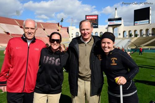 USC Women's Lacrosse Head Coach Lindsey Munday, AD Pat Haden, JK McKay And Hilary Bowen