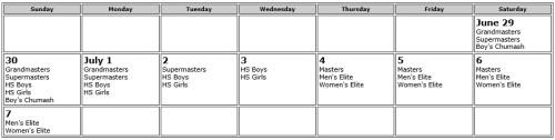 2013 Vail Lacrosse Shootout Calendar