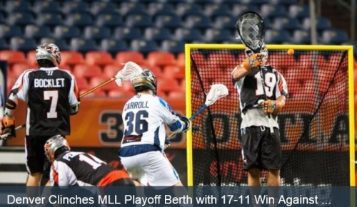 "With a 17-11 win against the Charlotte Hounds, Denver Outlaws tied the best start in league history and clinched an MLL Playoff berth. The last team to open its season with nine straight wins is the 2005 Chesapeake Bayhawks.  The Outlaws' Jesse Schwartzman earned Player of the Game honors after making a career-high 27 saves, the second-most in club history. The goalie kept the Hounds (4-5), who entered the game ranked second in the league in scoring offense and outshot the Outlaws (9-0) 37-33, largely at bay.  ""[Jesse] won the game for us,"" Denver Head Coach Jim Stagnitta said. ""He made some phenomenal saves. He didn't start out very well. I was a little concerned in the first quarter, but he certainly shut the door in the second, third, and fourth quarter. He was terrific."" On the offensive end of the field, Eric Law led all scorers with four goals. Sieverts, Brendan Mundorf, and Chris Bocklet each completed a hat trick.  The first quarter was a back-and-forth affair. Charlotte's Matt Danowski netted a goal 23 seconds in before Law and Zack Greer scored to give Denver a 2-1 lead. The two teams traded goals through the rest of the period, with the Hounds' Jake Tripucka notching the last tally of the quarter to put Charlotte up 5-4 heading into the second. The last time that the Outlaws trailed after the first period was in their season opener against the Hounds on April 27."