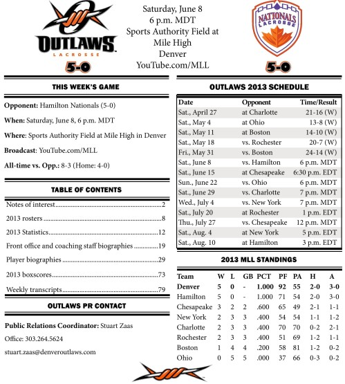 Denver Outlaws vs Hamilton Nationals game notes-page-001