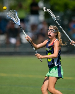 Caitlin McCarthy scored in the first half of BearLax 2016 Blue's (Calif.) 10-4 win over sister team BearLax 2017 Blue in the girls' U15 final at the Morgan Hill Outdoor Sports Center. Both squads advanced to the US Lacrosse U15 National Championship, powered by Lacrosse Unlimited, July 23-25 in Orlando. Photo by  ©Damon Tarver for Lacrosse Magazine.