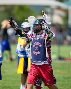 Keenan Moffitt had two goals and one assist to help Brady's Bunch (Calif.) win the boys' U15 division at the US Lacrosse West Championships, powered by Lacrosse Unlimited, Sunday with a 6-4 victory over the Colorado 14ers. Photo by ©Damon Tarver for Lacrosse Magazine.