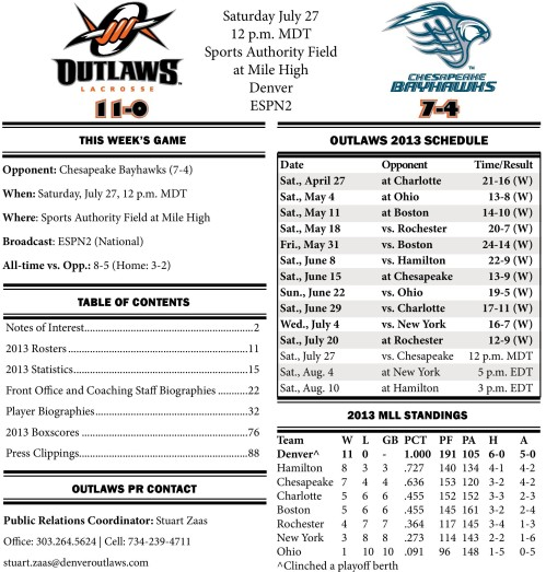 Denver Outlaws vs Chesapeake Bayhawks game notes-page-001