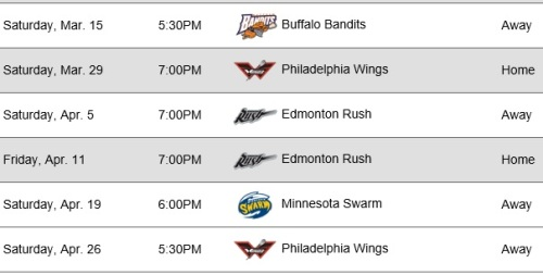 Colorado Mammoth 2014 Schedule April 26
