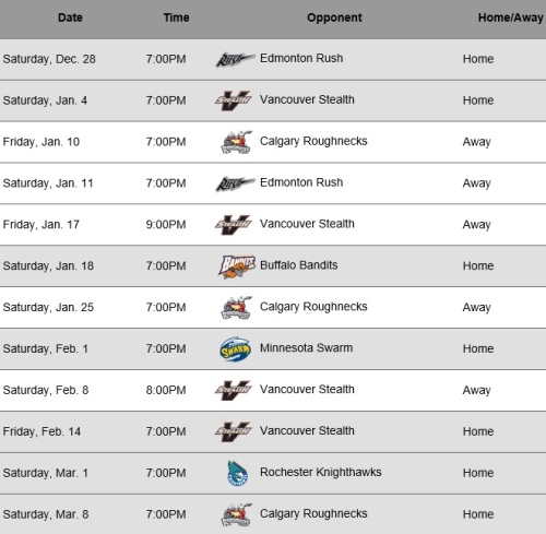 Colorado Mammoth 2014 Schedule March 8