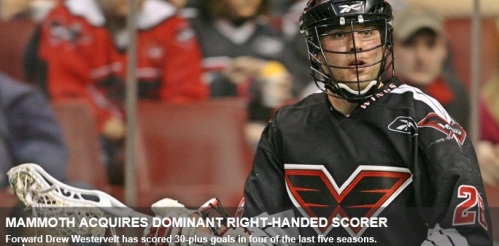 Colorado Mammoth Acquire Forward Drew Westervelt