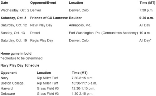 Colorado Women's Lacrosse Fall Schedule 2013