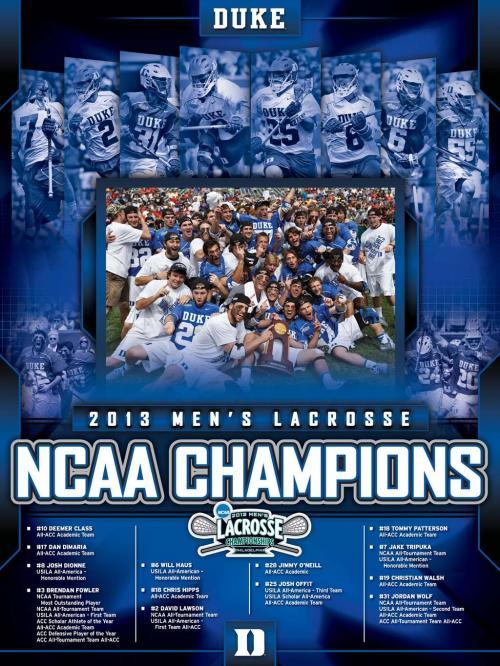 Duke Men's Lacrosse 2013 NCAA Championship Poster