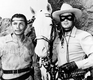 Jay Silverheels as Tonto in Lone Ranger with Clayton Moore