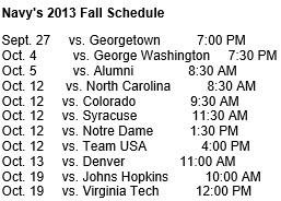 Navy Women's Lacrosse Fall 2013 Schedule
