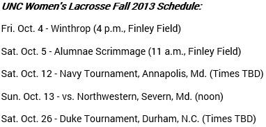 North Carolina Women's Lacrosse Fall Schedule