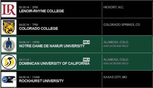Adams State Men's Lacrosse 2014 Schedule 3