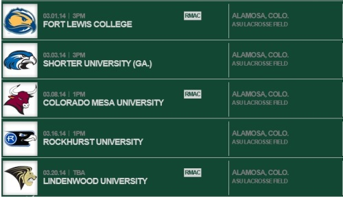 Adams State Women's Lacrosse Sched 1
