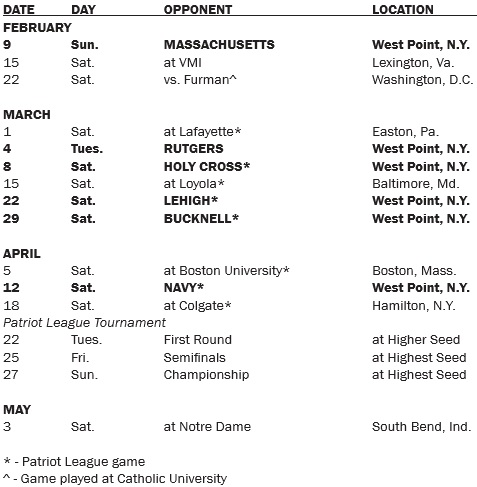 Army Men's Lacrosse 2014 Schedule