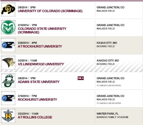 Colorado Mesa Men's Lacrosse 2014 Schedule 1