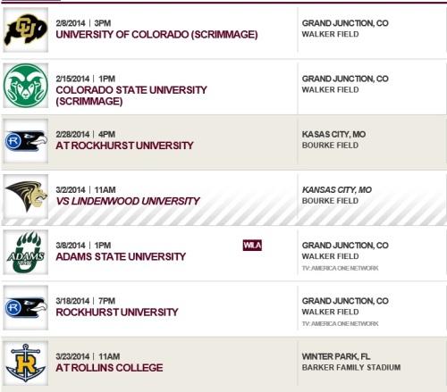 Colorado Mesa Men's Lacrosse 2014 Schedule 1