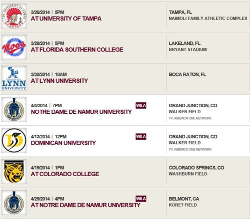Colorado Mesa Men's Lacrosse 2014 Schedule 2