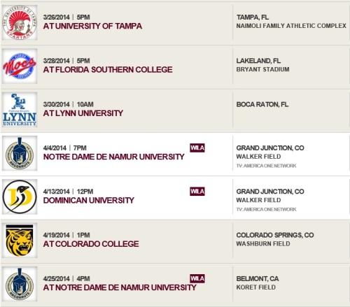Colorado Mesa Men's Lacrosse 2014 Schedule 2