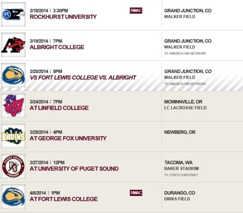 Colorado Mesa Women's Lacrosse Sched 2