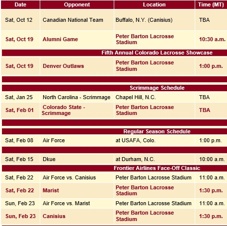Denver Men's Lacrosse 2014 Schedule