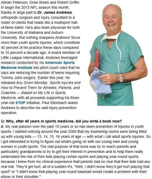 Dr. James Andrews Overuse Injuries 1