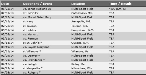 Georgetown Men's Lacrosse 2014 Schedule