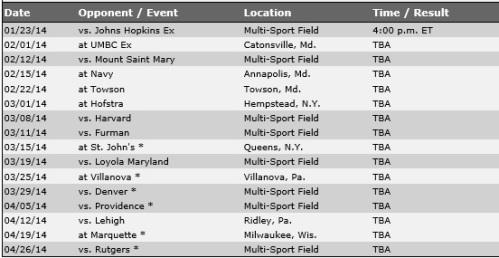 Georgetown Men's Lacrosse 2014 Schedule