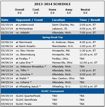Grand Valley State Women's Lacrosse 2014 Schedule