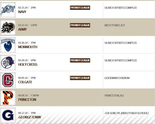 Lehigh Men's Lacrosse 2014 Schedule 2
