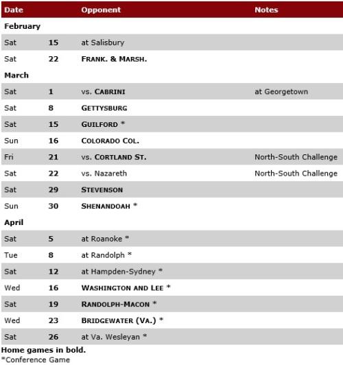 Lynchburg Men's Lacrosse 2014 Schedule