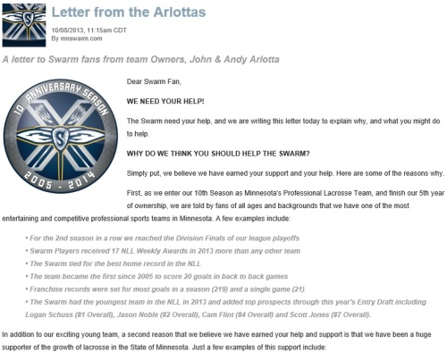Minnesota Swarm Letter 1