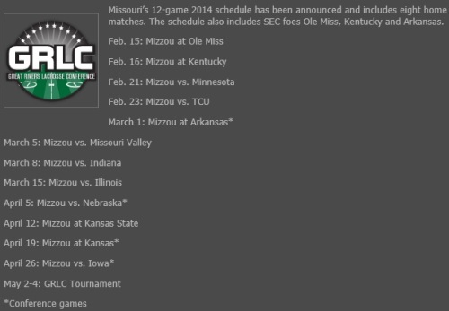 Missouri Men's Lacrosse 2014 Schedule