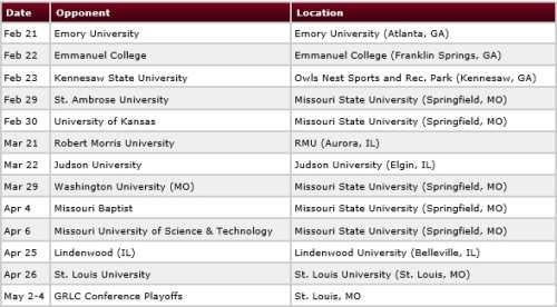 Missouri State Men's Lacrosse 2014 Schedule