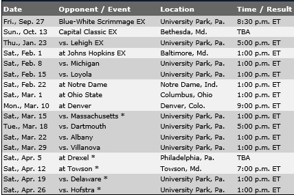 Penn State Men's Lacrosse 2014 Schedule