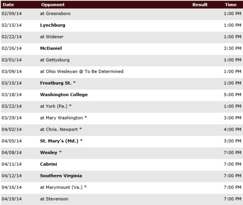 Salisbury Men's Lacrosse Sched 1