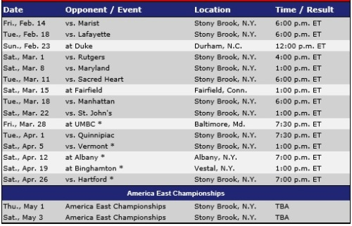 Stony Brook Men's Lacrosse 2014 Schedule