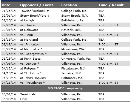 Villanova Men's Lacrosse 2014 Schedule