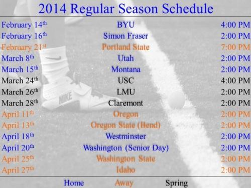 Boise State Men's Lacrosse 2014 Schedule