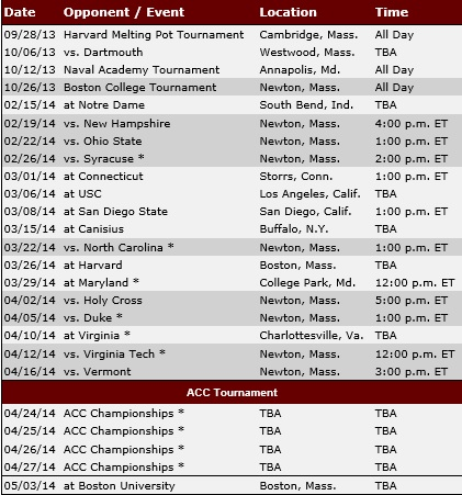 Boston College Women's Lacrosse 2014 Schedule