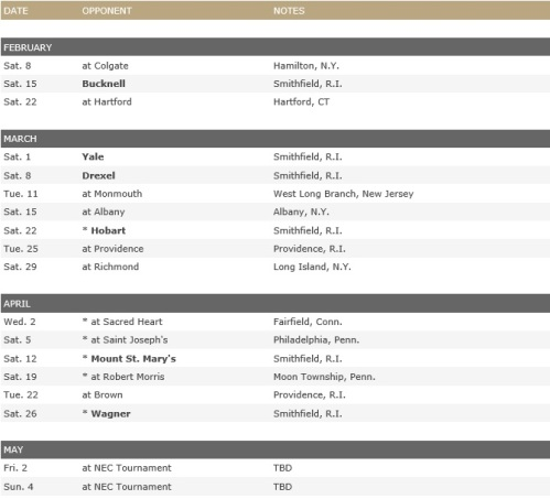 Bryant Men's Lacrosse 2014 Schedule