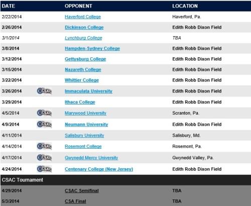 Cabrini Men's Lacrosse 2014 Schedule
