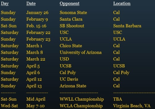 Cal Berkeley Women's Lacrosse Club 2014 Schedule