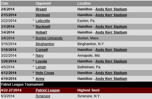 Colgate Men's Lacrosse 2014 Schedule