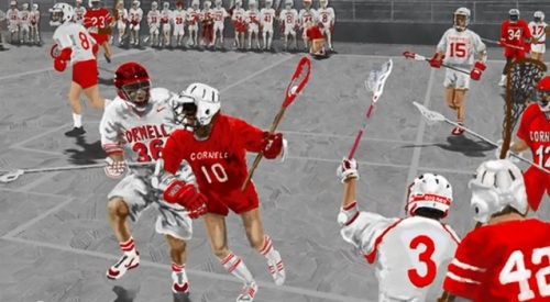 Cornell Men's Lacrosse Red and White Scrimmage Tradition artwork artist Jim Fenzel