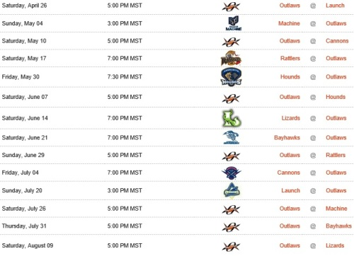 Denver Outlaws 2014 Schedule