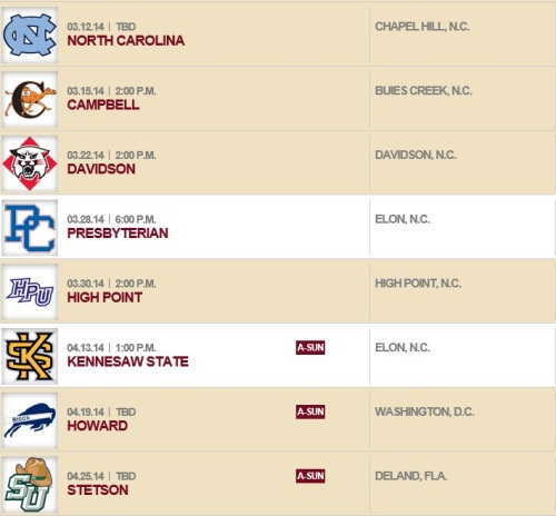 Elon Women's Lacrosse 2014 Schedule 2