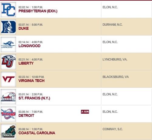Elon Women's Lacrosse 2014 Schedule