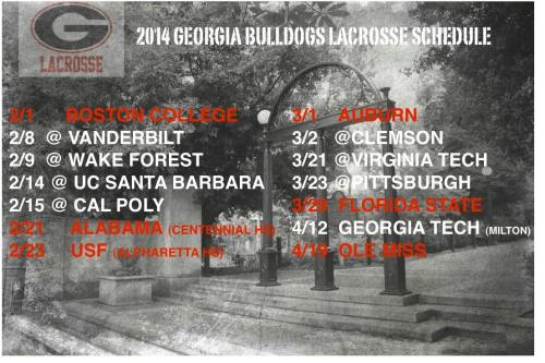 Georgia Men's Lacrosse 2014 Schedule